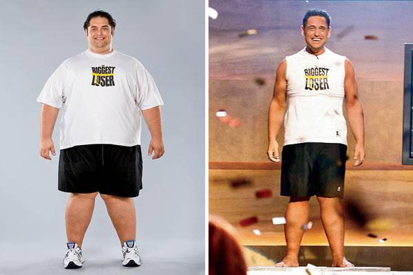 Michael Ventrella is seen before (left) and after (right) his weight loss.