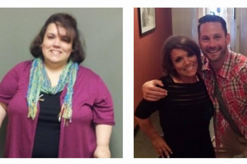 Sara Murphy is shown before (left) and after (right) her weight loss.