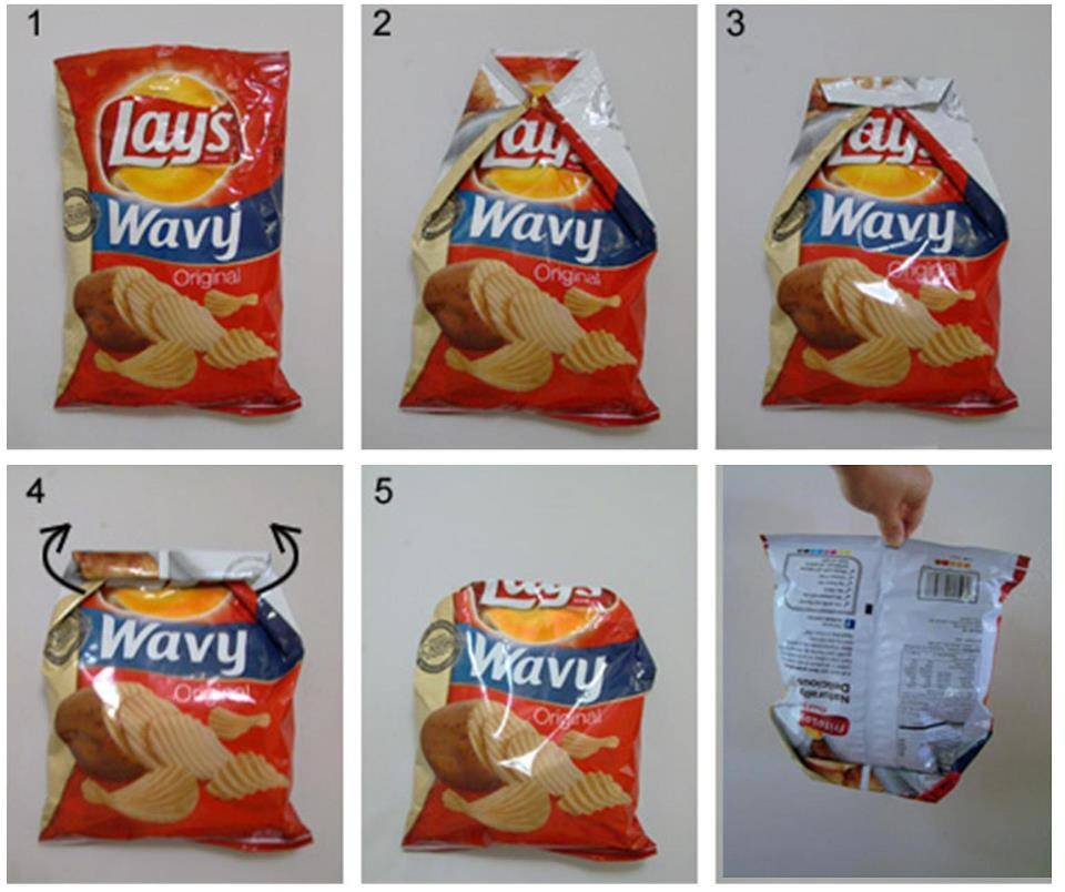A diagram shows how to fold a bag of chips to vacuum seal it.