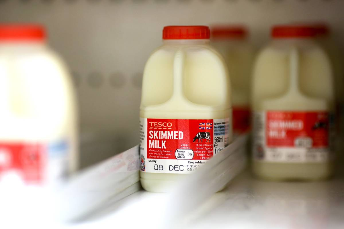 Cartons of skim milk are in the back of a refrigerator.