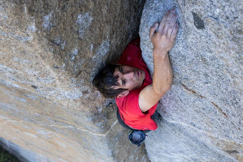 Alex Honnold free soloing the Scotty-Burke offwedth pitch of Freerider on Yosemite's El Capitan