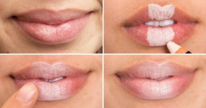 A woman creates fuller-looking lips by putting concealer on the middle of the top and bottom lip.