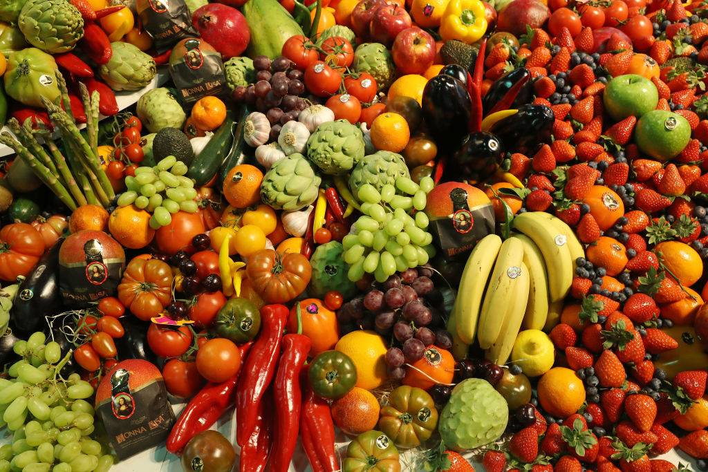 Fresh fruits and vegetables lie on display at a Spanish producer's stand