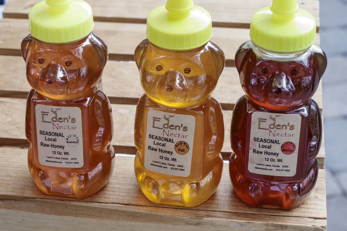 Bear-shaped containers hold local raw honey.