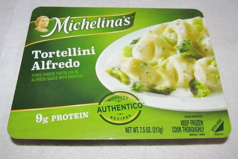 Michelina's Tortellini Alfredo green box with pasta and broccoli