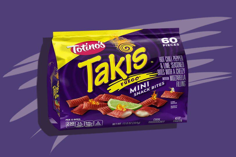 Totino's Takis Fuego Mini Snack Bites in a purple package