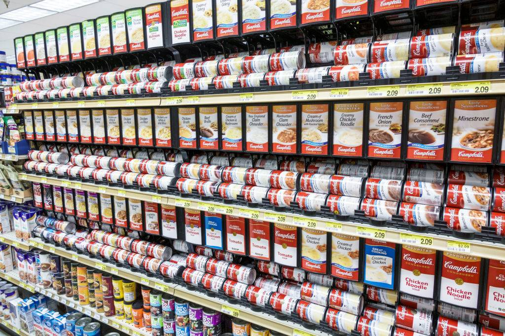 a canned soup display at a grocery store