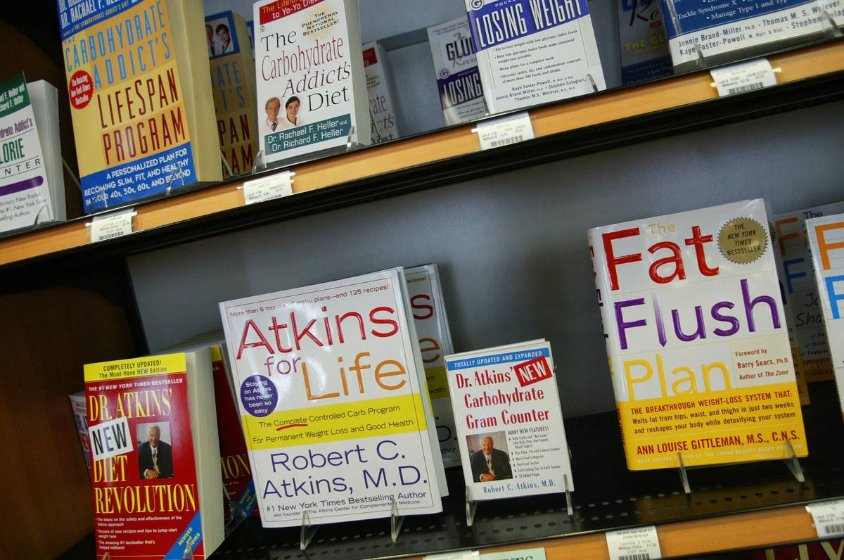 Diet books line the shelves of a bookstore.