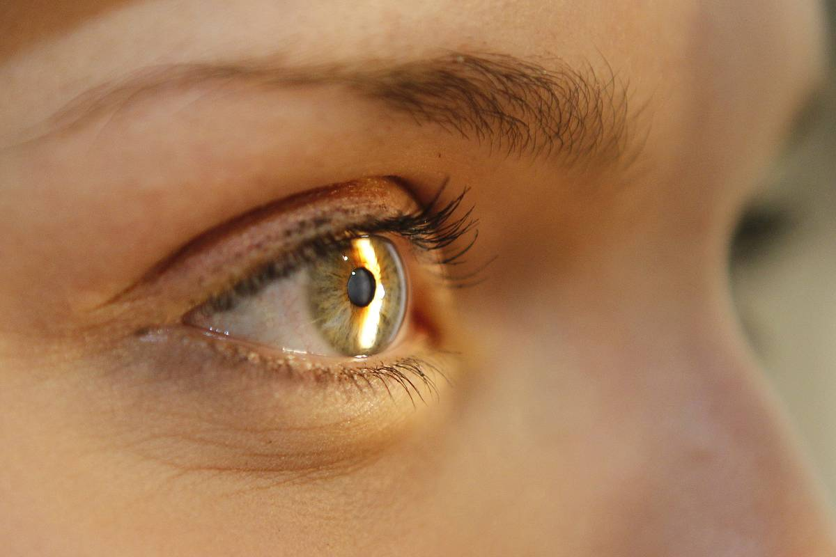 A woman looks into a light for an eye exam.