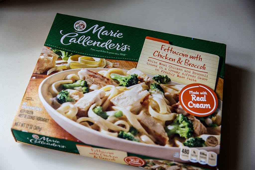 Marie Callender's fettuccini with chicken and broccoli in a creamy Alfredo sauce frozen processed dinner meal