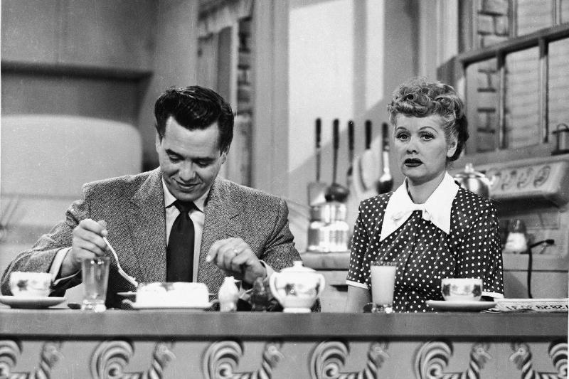 In the show I Love Lucy, Lucy and Ricky eat breakfast at their kitchen counter.