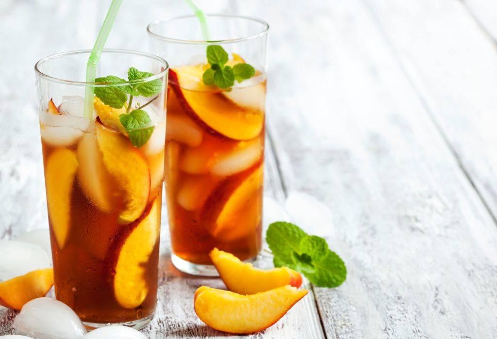 iced tea with peaches inside