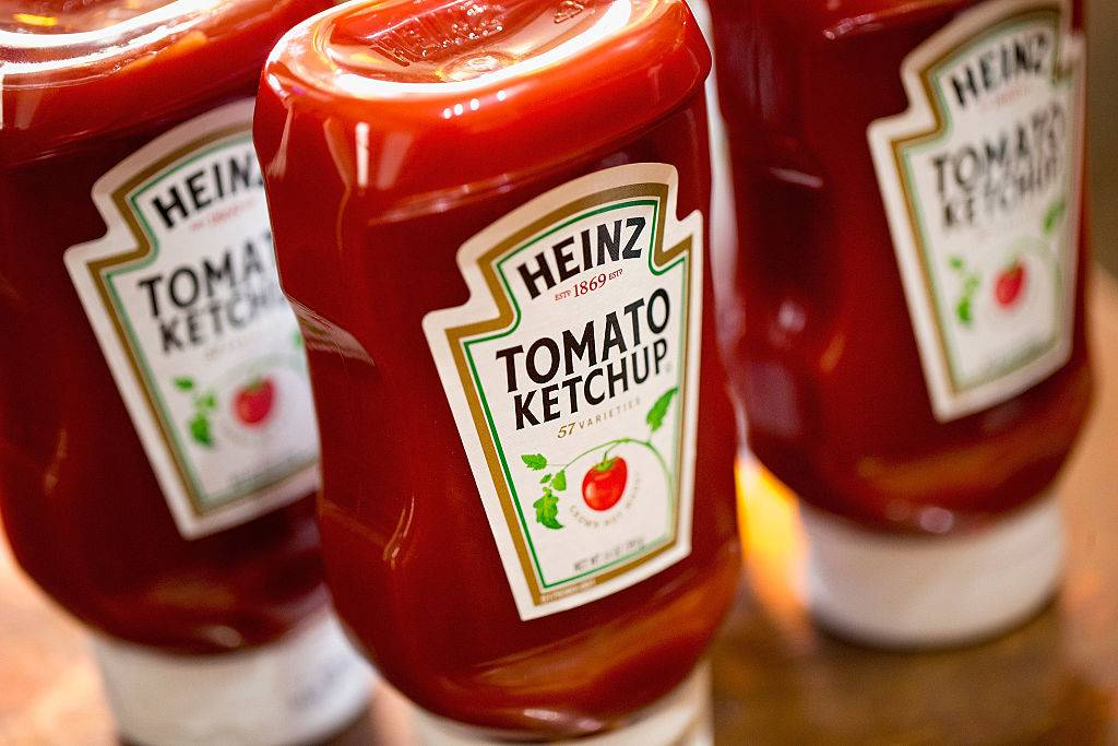 heinz ketchup bottles on a table