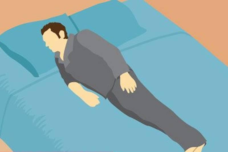 an illustration of a man lying on his side with arms and legs flat