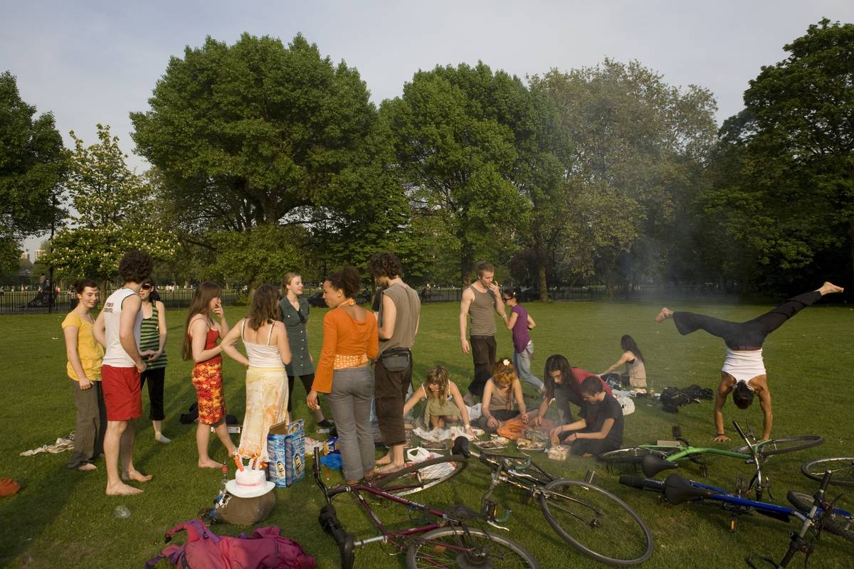 A group of adults gather for a picnic in a public park.
