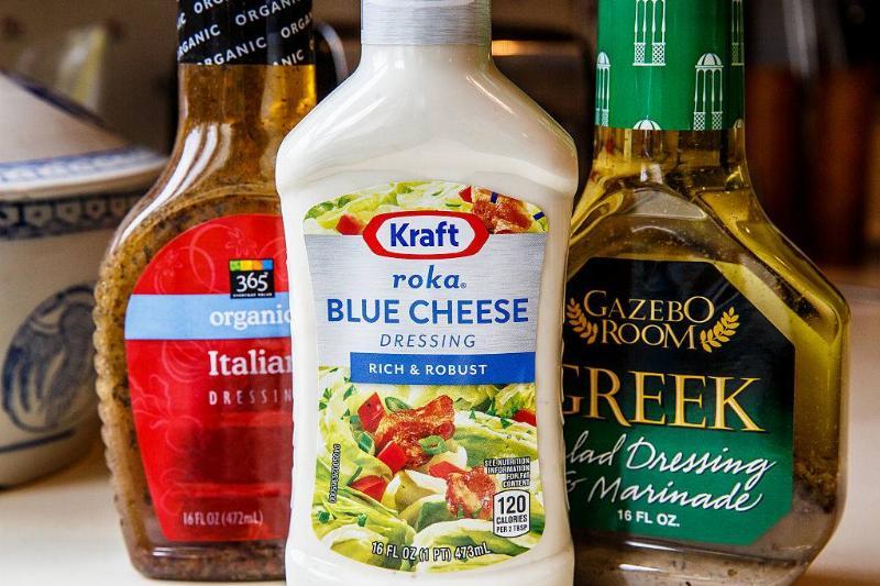 Kraft Roka Blue Cheese, 365 Italian dressing and Gazebo Room Greek dressing and marinade