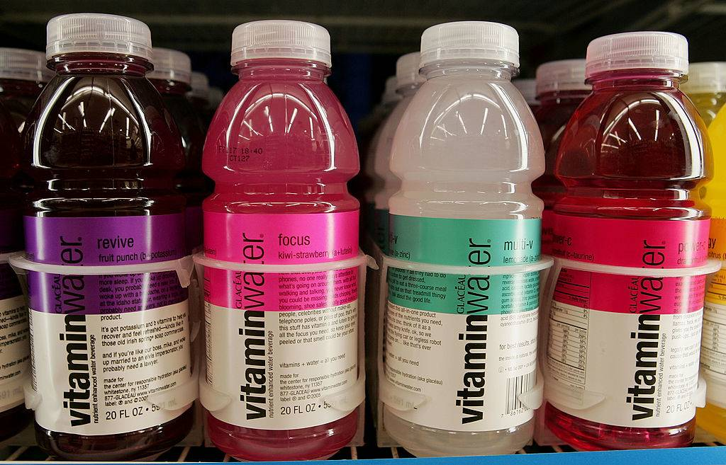 vitaminwater bottles on display at a store