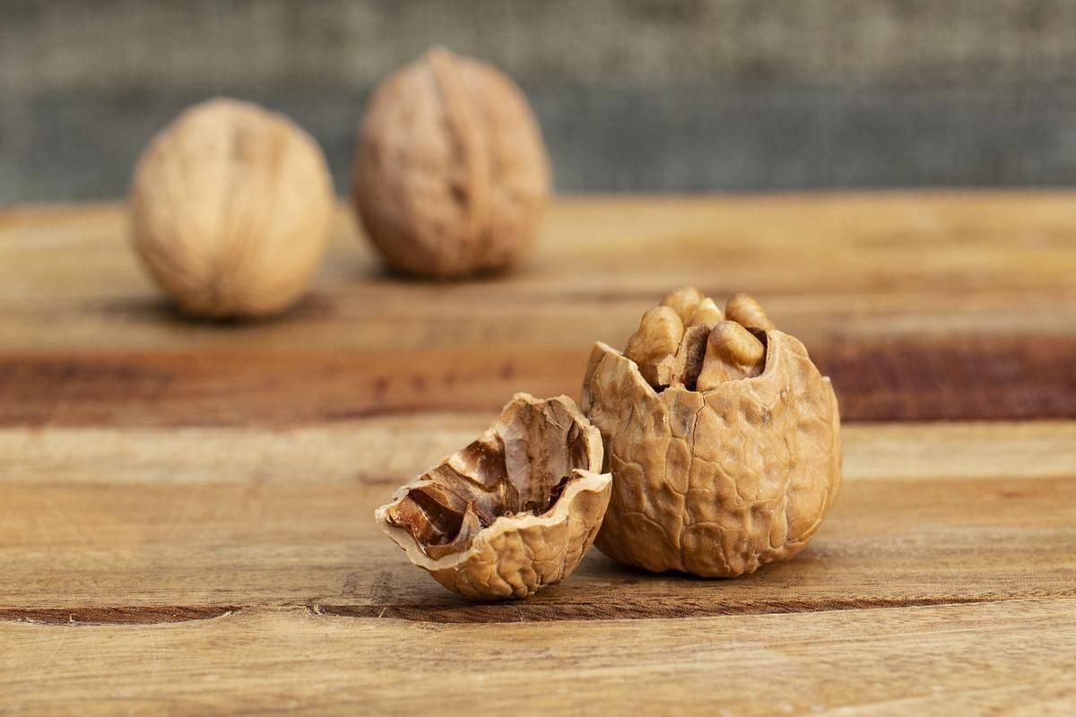 A walnut shell is cracked open.