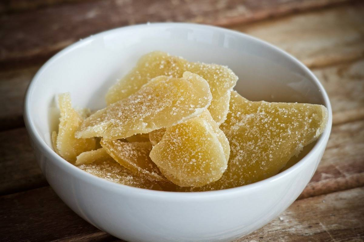 Dried ginger is sweetened with sugar.