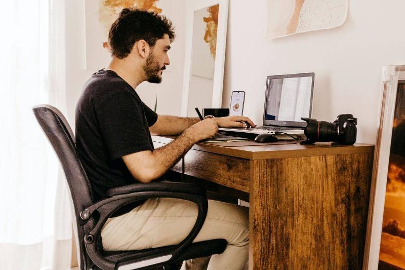 a man sitting in an office chair