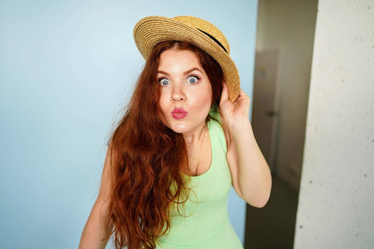a woman making a funny face for the camera