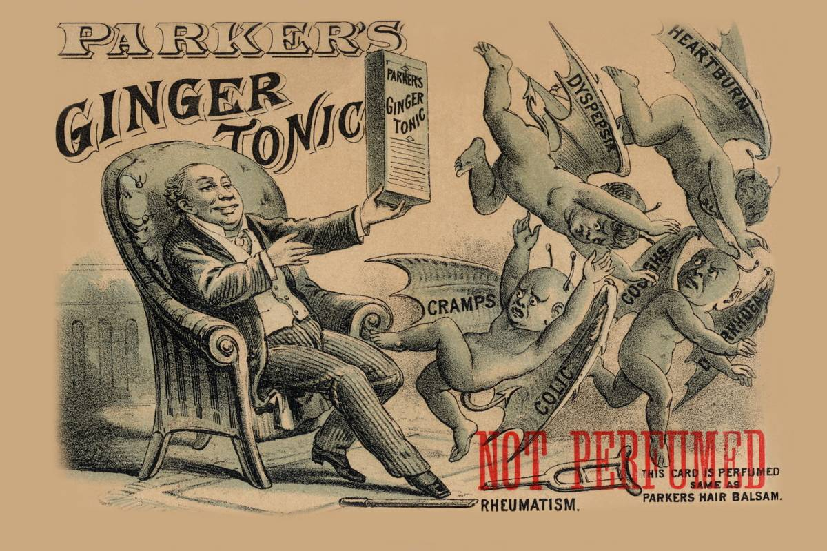 In this Victorian ad, a man uses ginger tonic to dispel cramps, heartburn, and other stomach issues.