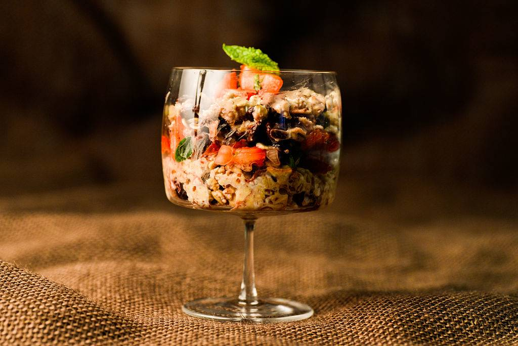 overnight oats with fruit in a glass