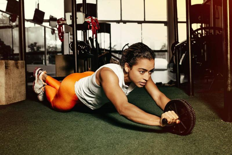 a woman working out at the gym
