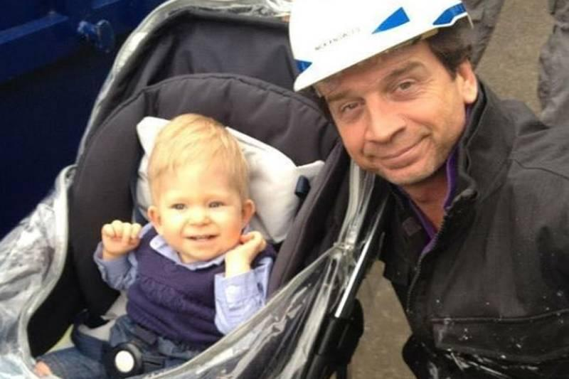 baby noah with a construction worker