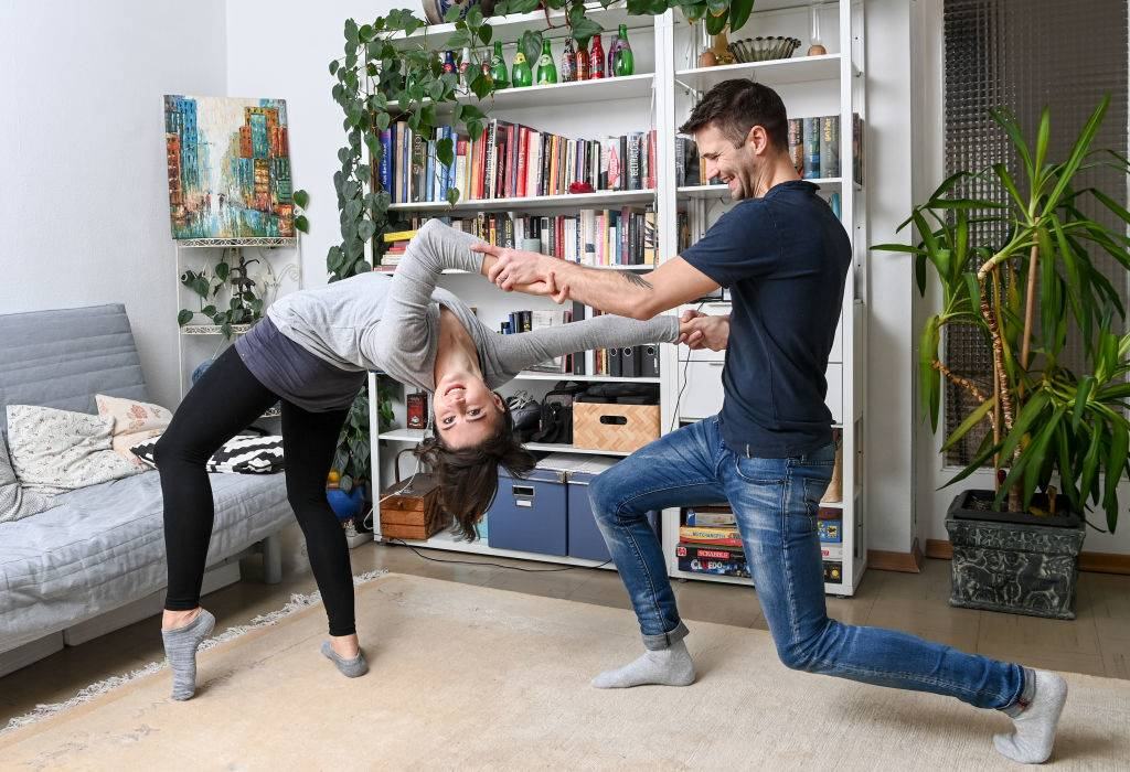 a couple doing some balance exercises