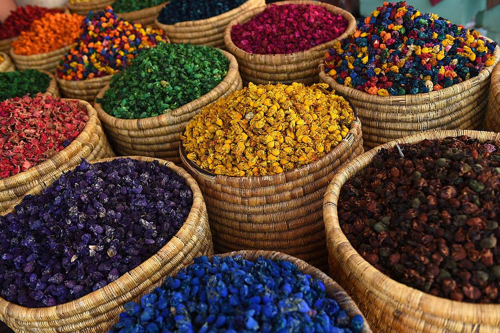 colorful herbs and spices in a market