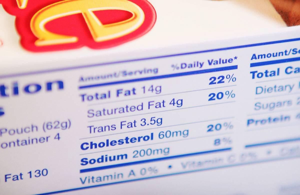 A nutrition label lists trans fats.