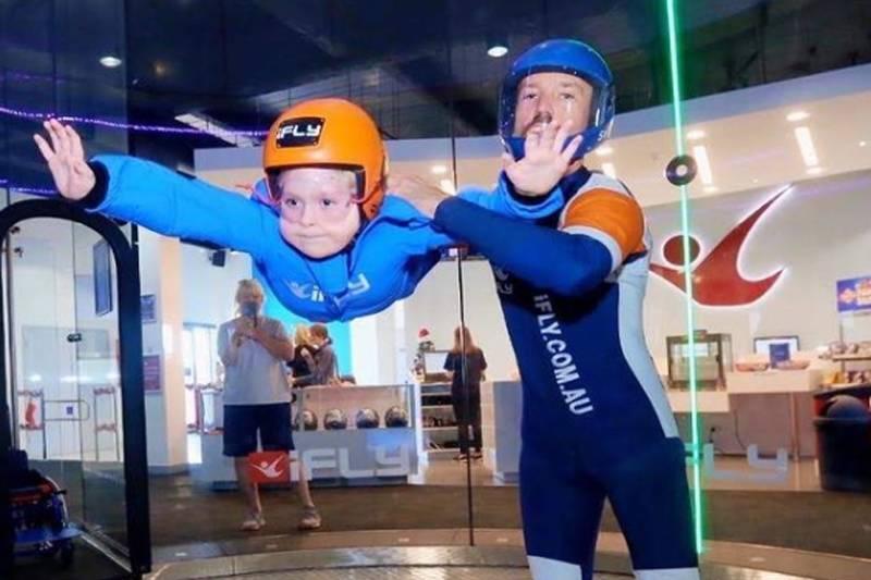 noah doing indoor skydiving
