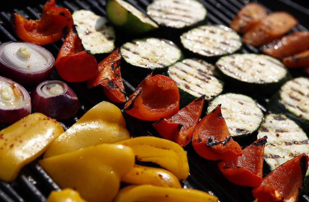 grilled vegetables including peppers, onions, and zucchini