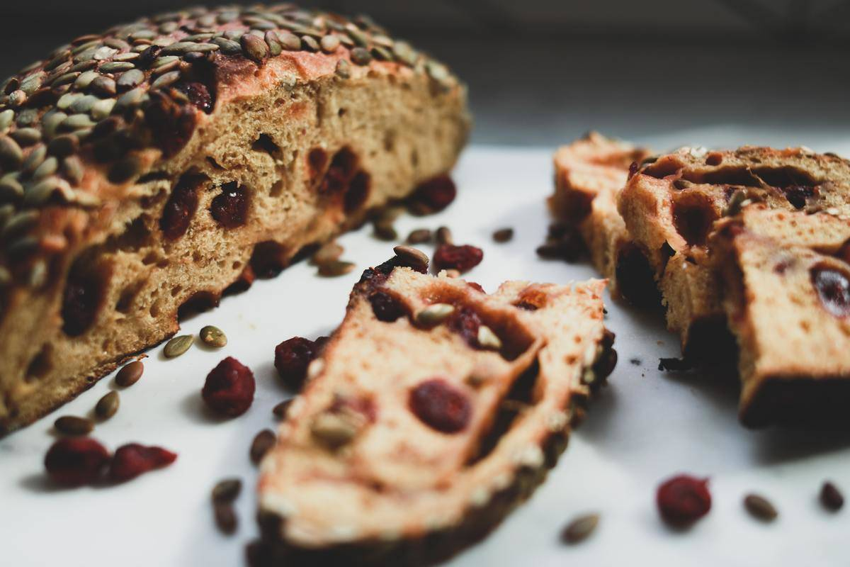 pumpkin bread with cranberries and sunflower seeds